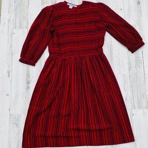 Vintage 80s Striped Secretary Midi Dress